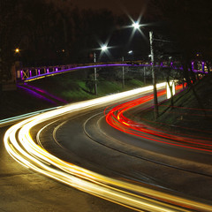 image of night city road