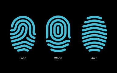 Thumbprint types on black background.
