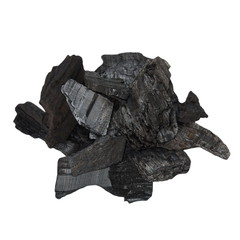 pile charcoal isolated on white background