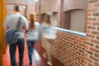 Students walking in the hall together