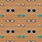 Hipster Glasses Vector Seamless Pattern