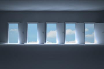 Doors opening in dark room to show sky