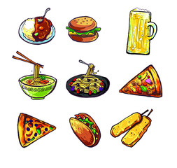 international and different kind of food illustration