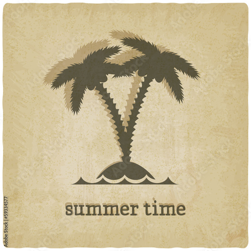 old background with palm tree - vector illustration