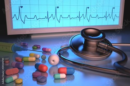 Stethoscope drugs. Clipping path included.