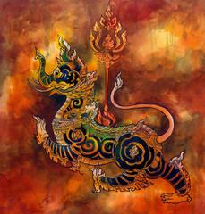 Thai mythology lion Sigha painting
