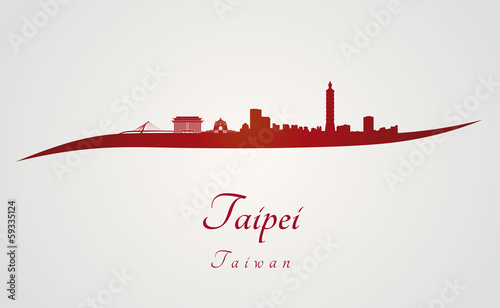 Taipei skyline in red