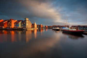 boats, ships and colorful buildings at Reitdiephaven