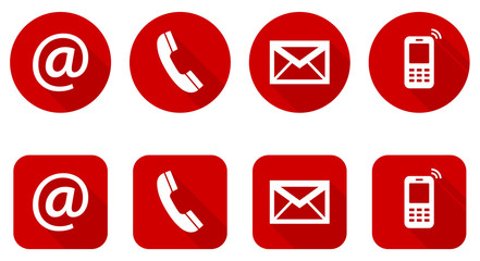 Set of web red flat icons, two variants - Contact Us