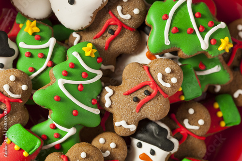 Tuinposter Koekjes Traditional Iced Gingerbread Christmas Cookies