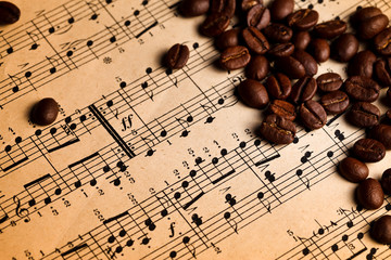 Coffee beans on musical score