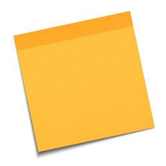 Orange sticky note on white background