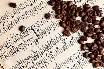 Music and coffe beans