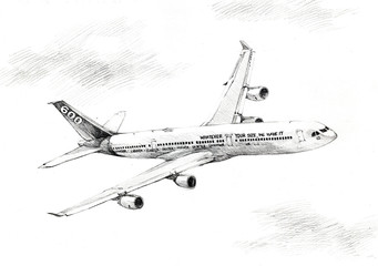 plane drawing black and white