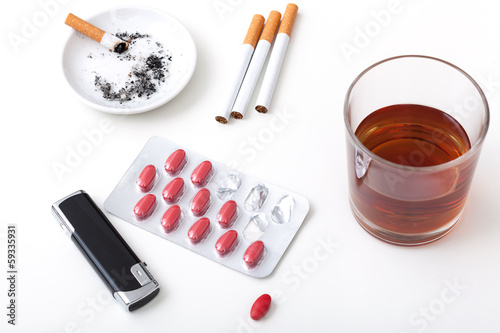 Alcohol cigarettes pills