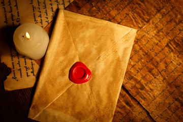 Vintage letter closed with wax seal