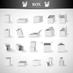 Box Icons Set - Isolated On Gray Background - Vector