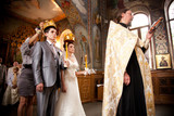 Old russian traditional wedding in orthodox church