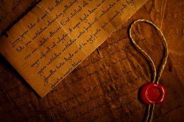 Closeup of old letters with wax seal