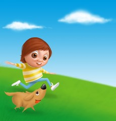 Child and dog playing on the grass