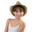 Charming girl in a straw hat