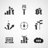 Set of Bitcoin Concept Illustrations Clipart