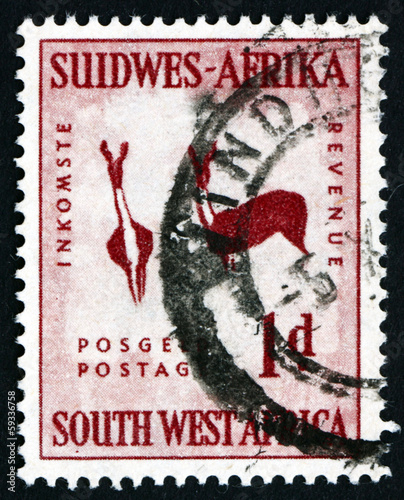 Postage stamp South West Africa 1987 Rock Painting of Two Bucks
