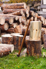 Wooden logs and rusty axe