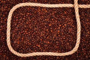 Coffee beans with cordage