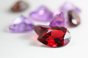 Colorful gemstones with garnet stone