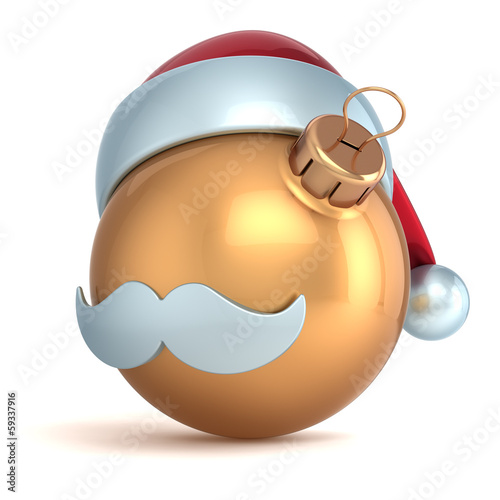 Christmas ball ornament Happy New Year bauble gold Santa