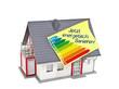 Haus mit Zettel und energetische Sanierung