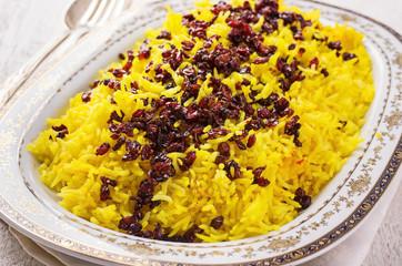 sereshk polo - persian saffron rice with berberis