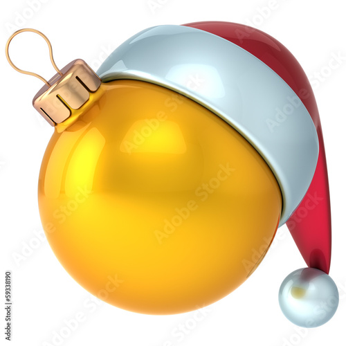 Christmas ball Happy New Year bauble decoration yellow gold