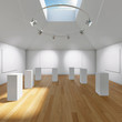 Hall gallery with blank canvas