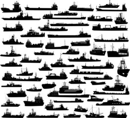 Set of 60 silhouettes of sea yachts, towboat and the ships