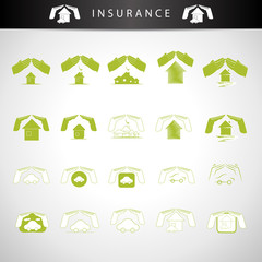 Insurance House And Car Icons Set - Isolated