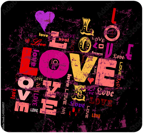 love illustration,  grunge style, vector