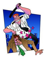 Cop beats man