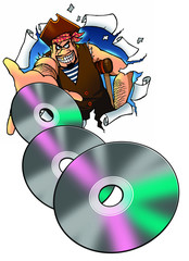pirate holding illegal copies of DVD