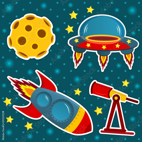 icon set space - vector illustration