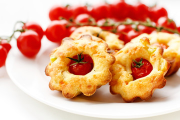 cakes with cherry tomatoes