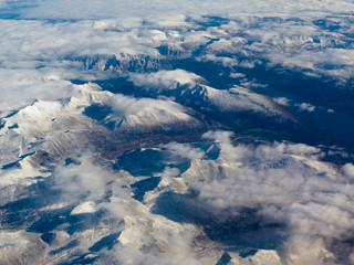 Aerial view of snowcapped mountains in BC Canada