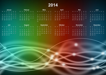 Rainbow Waves Calendar 2014