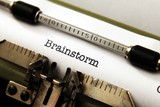 Brainstorm text on typewriter
