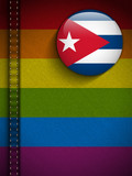 Gay Flag Button on Jeans Fabric Texture Cuba