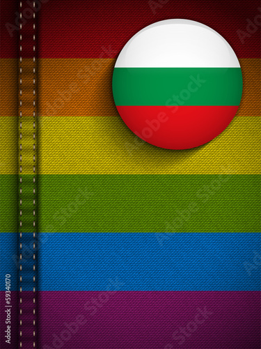 Gay Flag Button on Jeans Fabric Texture Bulgaria