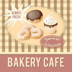 banner for bakery cafe with cupcake and donuts