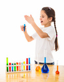 girl sniffs a chemical reagent poster