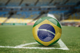 Brazil soccer ball on the soccer field